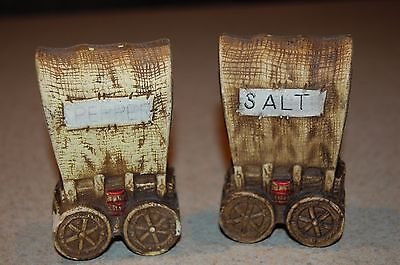 vintage ceramic western covered wagon salt and pepper shakers
