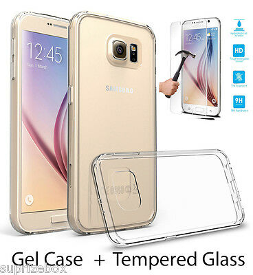 Ultra-Thin 100% Clear Gel Case & Tempered Glass Screen Protector For Samsung S7