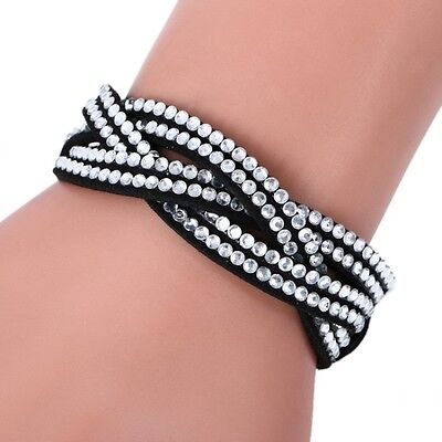 LOVELY LEATHER Slake BRACELET MADE WITH SWAROVSKI CRYSTALS - CLEAR BLACK WOVEN