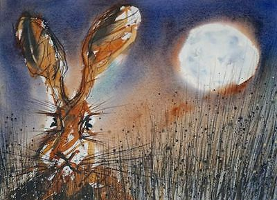 Original framed watercolour wildlife painting 'Moon Hare' by James Hollis