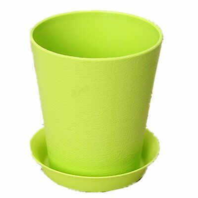 Folded Vase Flower Pot Plastic For Home Garden Decoration W A Tray Green S*