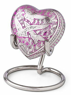 Heart Mini Ashes Urn, Cremation Memorial Small Keepsake Flying Bird- FREE STAND