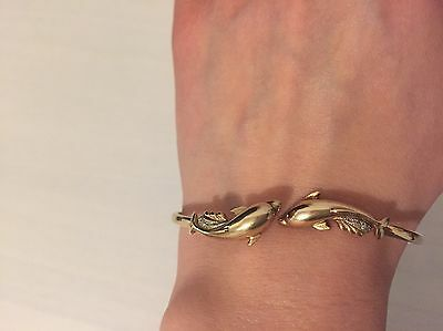 9ct Vintage Gold Dolphin Bangle With cubic zirconia Stones