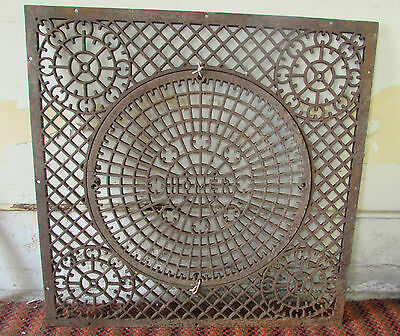 """Large Cast Iron Grate With Removable Center Salvage Repurpose 31"""" Square"""