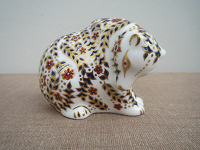Royal Crown Derby, Rocky Mountain Bear, Paperweight, Gold Stopper