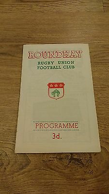 Roundhay v Halifax 1958 Rugby Union Programme