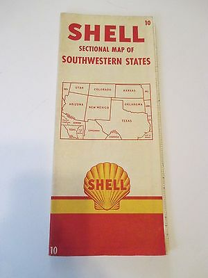 Vintage #10 SHELL SECTIONAL MAP OF SOUTHWESTERN STATES US Road Map