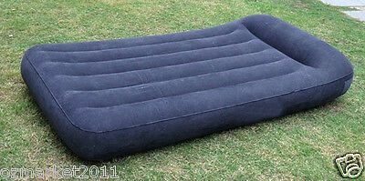 Dark Blue Flocking Fabric L203cm*W152cm*H30cm Air Mattress/Double Inflatable Bed