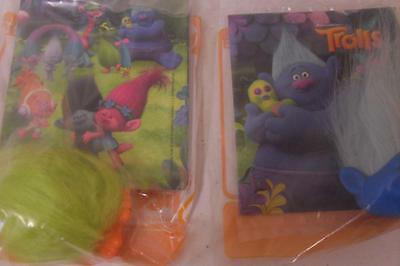 2 x Mcdonald's Happy Meal TROLLS Toys BIGGIE & FUZZBERT New & Sealed