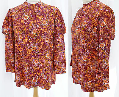 VTG Childrens or SMALL 60s Blouse Top Shirt Dress Tunic Long Sleeved Orange Psyc