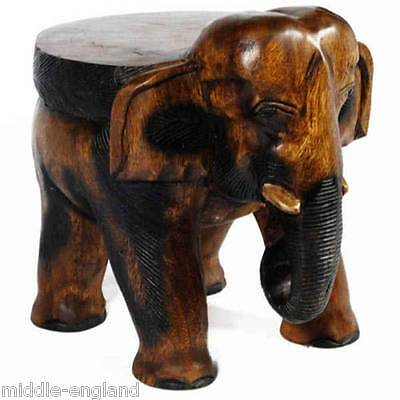 """Elephant Stool Plant/lamp Stand Low Side Table Sculpture 16"""" Acacia Wood"""