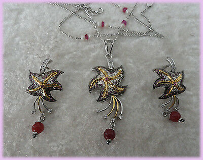 Fabulous Necklace Earring Pendant set 925 solid sterling silver decorated  Ruby