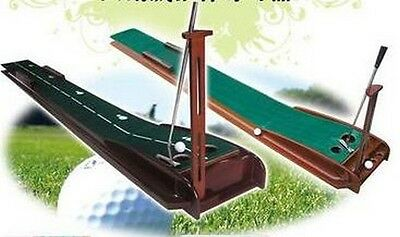 Golf 250cm Solid Wood Portable Golf Putting Practice Mat with Putter Holder!