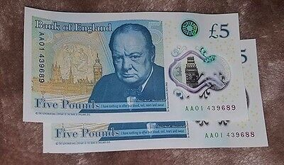 ****EXTREMELY LOW AA01 SERIAL NUMBER**** £5 Five Pound Bank Note X2