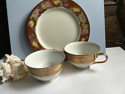 Soho China Hand Painted 2 x cups & dessert plate Japan