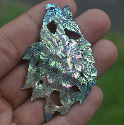 Bali Carving Hand Carved Paua Abalone Shell Flower 63x40mm P1526 Pendants Beads