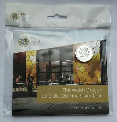 Exclusive Royal Mint Experience 2016 The Welsh Dragon £20 Coin Fine Silver