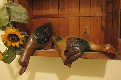 Pair of Wood Carved Decorative Ducks