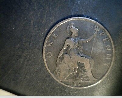 1897  Great Britain, One Penny, Medium Grade Circulated Bronze (UK-343)
