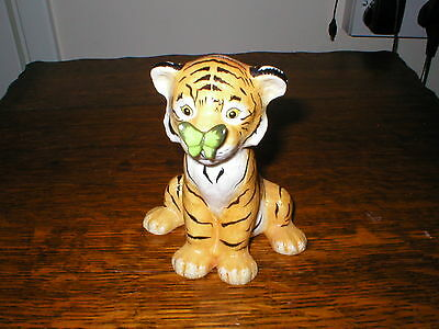 Franklin Porcelain Figur Surprise Tiger Cub With Butterfly By Eva Dalberg 1982