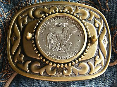 New Large Usa American Dollar Coin Eagle Belt Buckle  Antique Gold Metal Western