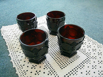 Red Vintage Cape Cod Footed Compotes (4) for Fruit or Sherbet