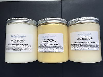 Shea Butter, Cocoa Butter & Coconut Oil - 100% Pure Natural Luxury X3 300g Jars