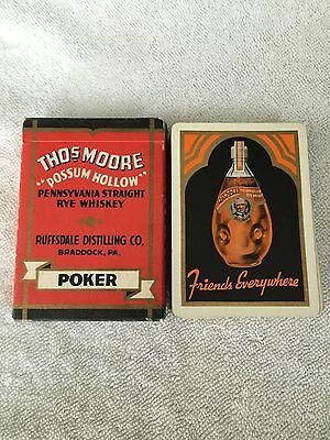 Antique Prohibition Thos.Moore POSSUM HOLLOW WHISKEY Poker Card Deck 52 cards