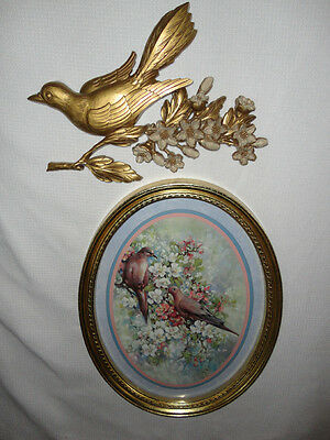 Home Interiors Oval Doves & Flowers '' Picture w/ Wall Plaque  2pc Set Gorgeous
