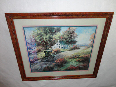 Home Interiors Large '' Amish Buggy / Home '' Picture  Gorgeous   23'' x 26.5''