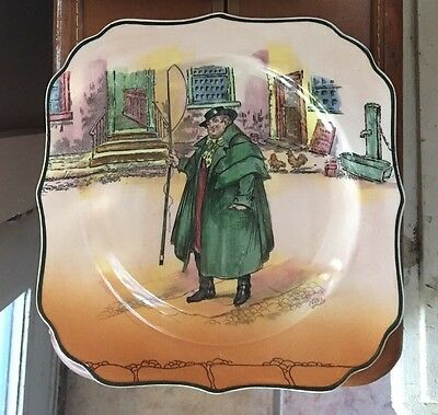 Royal Doulton Dickens Ware Tony Weller Square B&B Plate Signed Noke D 6327