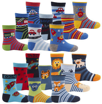 9 PAIRS Baby Boys Cotton Rich Socks Novelty Cartoon Space Multipack Sizes 0-5.5