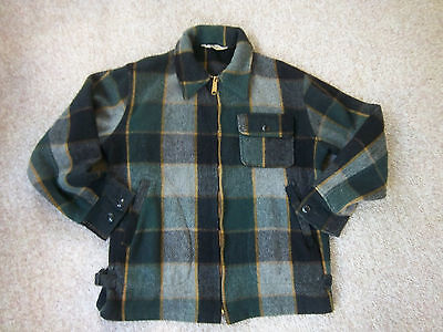 Vintage Woolrich Heavy Thick Wool Plaid Hunting Zippered Jacket Men's Sz 40