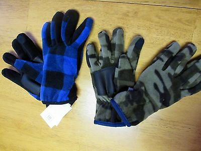 NWT Gap Kids FLEECE with NON-SKID Palms CAMO or BLUE PLAID Boy's GLOVES Size Med