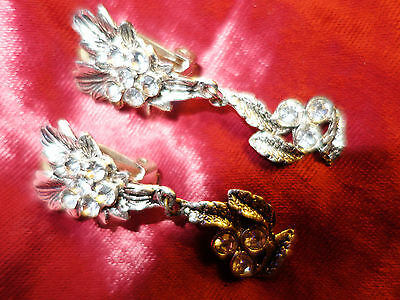 Vintage 1980s dangle clip earrings silver-tone and diamante - flower theme