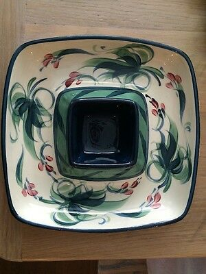 GAIL PITTMAN Pottery SERVING DISH CHIP DIP BOWL SIGNED GRAPEVINE BLUE GREEN TRAY