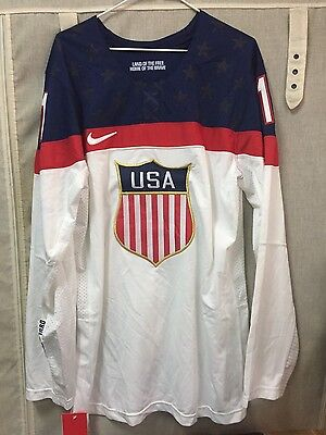 Nike National Team USA Hockey 2014 Olympic Jersey #1 Size M NWT White Stained