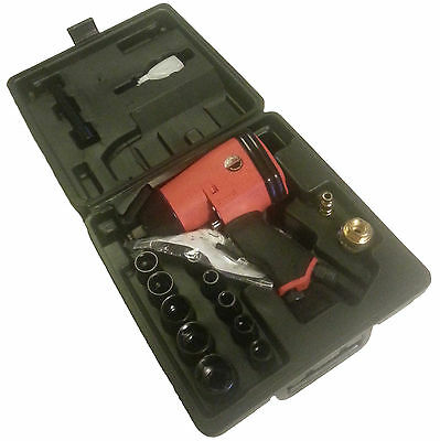 """17 Piece 1/2"""" Half Inch Drive Air Impact Wrench Gun & Socket Set In Carry Case"""