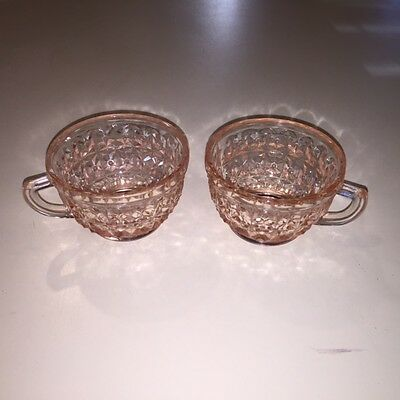 Set/2 Jeannette Glass Co Pink Holiday *buttons And Bows* Coffee Drink Cups