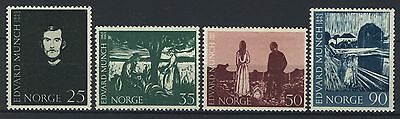 Norway 1963, Paintings by Edvard Munch set, Sc 446-49 MNH