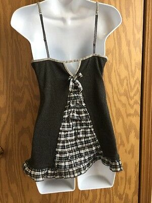 Victoria's Secret Plaid Jingle Bells Babydoll Slip Large NWOT