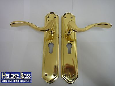 Heritage Brass Rimini Euro Lock Handle Polished Brass Finish - New