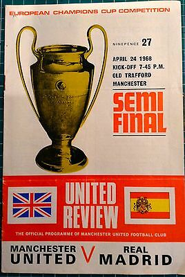 MANCHESTER UNITED v REAL MADRID- PROGRAMME 24TH APRIL1968- EUROPEAN CUP