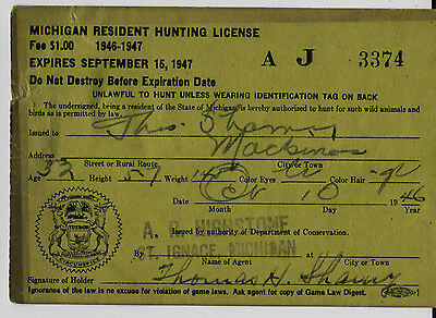 VINTAGE 1947 MICHIGAN RESIDENT Hunting License Survey Wallet Card Used