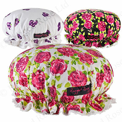 Ragged Rose Floral Shower hat with Showerproof lining