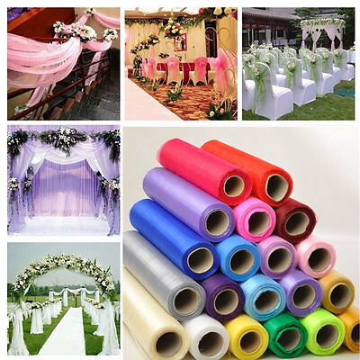 New 9M*45CM Crystal Tulle Organza Sheer Fabric Wedding Chair Bow Table Runner