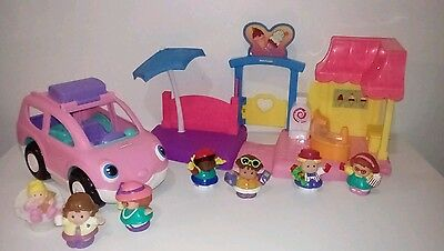 Fisher Price Little People Pink Musical Van with Baby Little People & Shops