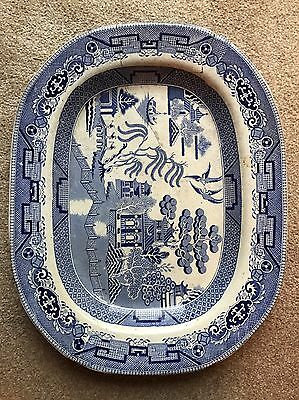 Antique Willow Pattern Large Serving Dish