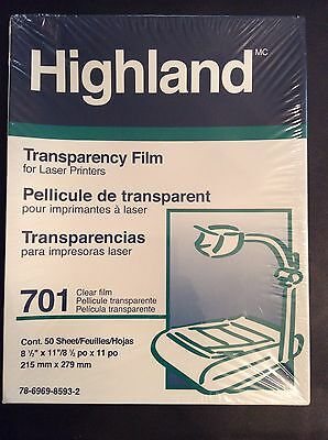 Brand New Highland Transparency Film 701 For Laser Printers New And Sealed