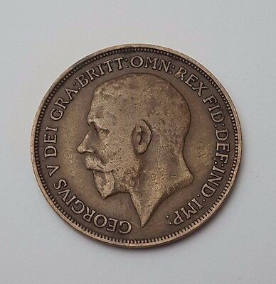 1916 - Copper - One Penny - Great Britain - King George V - English UK Coin